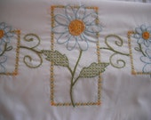 Hand Embroidered Pillowcases - Friendly as a Daisy - Set of 2 Standard Size Pillowcases