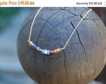 ON SALE Carrie Necklace Gold Filled- Multicolor Sapphire