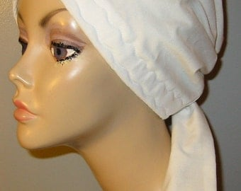 White Cotton  Chemo Scarf, Hat, Cancer Hat, Hijab, Alopecia, Modest Headwear