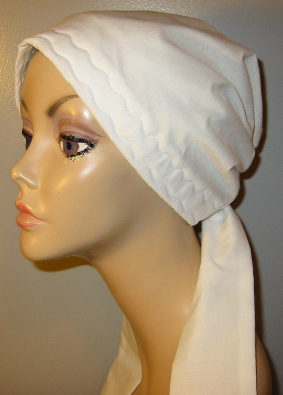 White Cotton  Chemo Scarf, Hat, Cancer Hat, Hijab, Alopecia, Modest Headwear