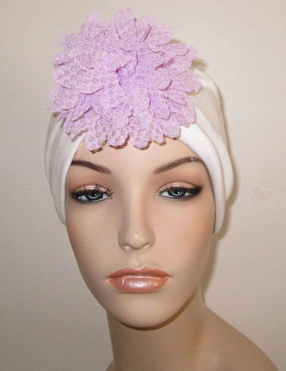 White  Turban with Detachable Violet Lace Flower , Chemo Hat, Snood, Womens Hat Cancer Hat, Alopecia Fashion Turban
