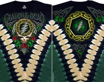 Grateful Dead  Shamrock  Tie Dye Short Sleeve Shirt  Size XL  St. Patricks Day  celtic    hippie