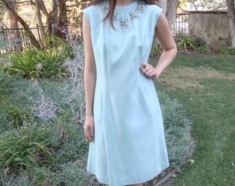 Vintage Beaded Sleeveless Silk Dress M