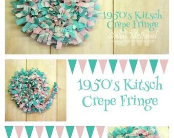 1950's Kitsch Handmade Crepe Paper Fringe, Festooning, Trim, Garland, Decoration, Party, Craft Supply, Streamer, DIY, Aqua, Pink, Turquoise