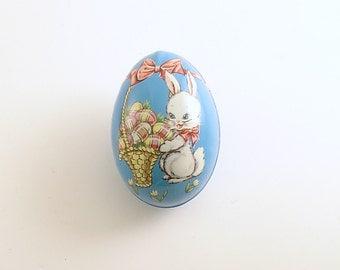 Vintage Easter Egg Candy Container Tin Litho Easter Bunny Egg Basket