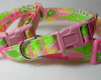 Handcrafted Lilly Pulitzer *Croc Monsieur* NEW Print Fabric Dog Collar- All Sizes- Free Shipping