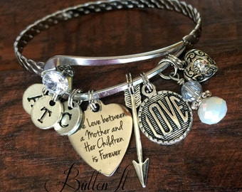 Gifts for Mom, Mother's Day Gift, BANGLE bracelet, Bangle charm bracelets, Mother daughter jewelry, birthday, Mother son, INITIAL bracelet