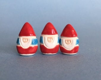 ONE Gnome Collectible Ceramic Miniature Clay Figure blue red