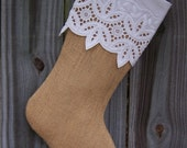 Lace Burlap Christmas Stocking Snowflake Eyelet Farmhouse Country Personalized  263