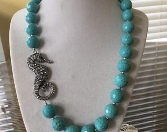 Turquoise Beaded Necklace with Rhinestone Sea Horse