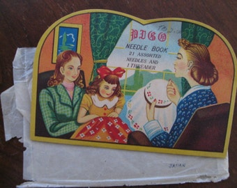 1940s PICO Sewing NEEDLE Case in Original Sleeve