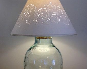 Extra Large Fillable Seashell Lamp   Fillable Lamp   Seashell Lamp    Fillable   Recycled Glass