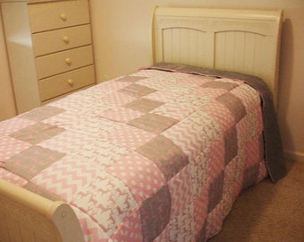 Meadow Deer Baby Pink Chevron and Polkas Minky Blanket You Choose Size MADE TO ORDER No Batting
