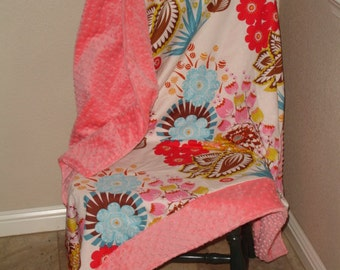 Summer Totem Minky Comforter Blanket You Choose Size and Minky Color MADE TO ORDER