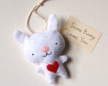 Bunny Ornament Animal Nursery Wall Decor Unique Baby Shower Gift Funny Bunny Rabbit Wall Hanging Woodland Nursery Home Decor Red Heart MiKa