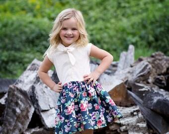 SAMPLE SALE - Effie Dress in Woodland Rose - Navy - Size 4