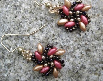Rose and Gold Pinwheel Earrings