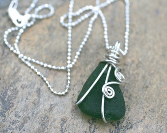 Green Sea Glass Wire Wrapped Pendant, Sterling Silver Beach Glass Necklace, Handmade Pendant, Beach Necklace