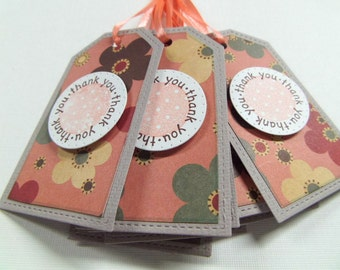 Thank you gift tags set of 8 peach ribbon included