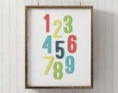Numbers print, PRINTABLE number art, 123 print, nursery decor, playroom printable, wall art print, counting print