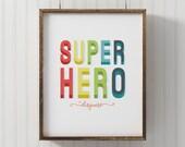 Superhero poster for baby room theme, modern superhero wall art, unique superhero décor for nursery, superhero art for kids' room