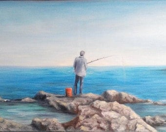"Oil Painting Man Fishing Seascape Ocean Rocks Original 12"" x 24"" READY to SHIP"