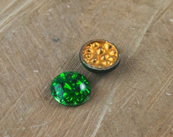 Vintage Emerald Green Textured Back Glass Cabochons 15mm (2) cab559