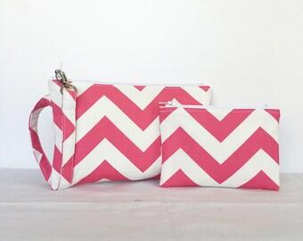 SALE - set of 2 - Square Wristlet  Zipper Pouch & Little Zipper Pouch - Pink and Cream Chevron