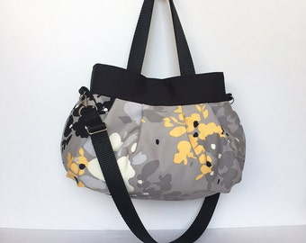 Cross Body Pleated Bag (SMALL or MEDIUM) w/ Adjustable Strap - Yellow Floral Splat