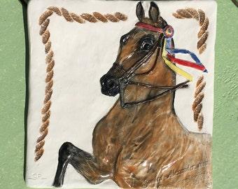 3-Gaited Saddlebred Horse Ceramic 3-d Tile by Alexander Art LLC sculpture Portrait In Stock ready to ship!