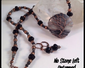 Special! Tree Of Life wrapped Black And Grey Marble eaded necklace and earrings set