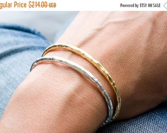 Valentines Day Sale Silver and Gold Raw Cuff Set