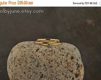 Valentines Day Sale Single Thin 14k Gold Band   Stacking Ring   Mid-Finger Ring   Mid Knuckle Ring