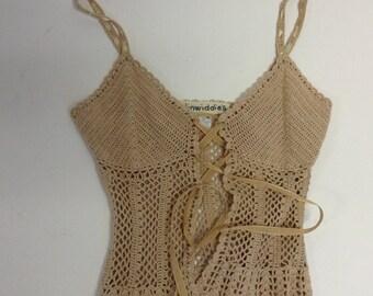 Tan or White Cotton Crochet Bustier Corset style top