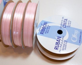 Light Pink Ribbon, Double-faced light pink satin ribbon 1/8 inch wide x 60 yards