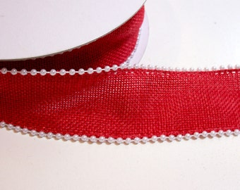 Red Ribbon, Offray Red Devoted Wired Ribbon 1 1/2 inches wide x 10 yards, Pearl Edge Ribbon