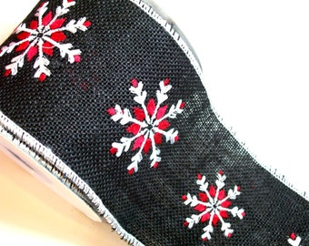 Snowflake Ribbon, Offray Black Flurry Wired Fabric Ribbon 4 inches wide x 10 yards, Full Bolt