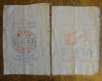 Sugar Feedsack Fabric | Vintage Feedsack Fabric | Old Feedsack Fabric | Primitive Feedsack Fabric