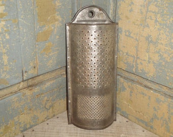Vintage Tin Grater | Old Grater | Antique Hanging Grater | Primitive Grater