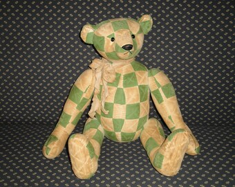 Old Quilt Bear | Vintage Quilt Bear | Old Quilt Bear | Jointed Bear | Hand Sewn Bear | Recycled Old Quilt Bear | Green Patchwork Bear