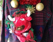 Ugly Christmas Sweater Tacky XL Men's Angelic Red Bull #2