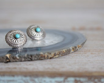 vintage. silver and turquoise pair of earrings. oval. stud. filigree. pressed metal. Native American. southwest. bohemian.
