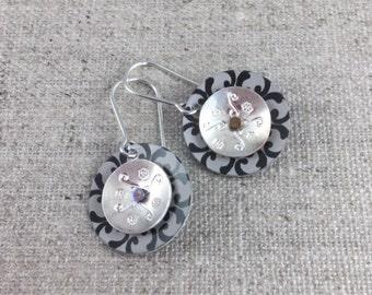 Aluminum & Sterling Silver Riveted Earrings