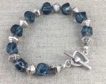 Blue Quartz & Sterling Silver Bracelet