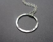 Reserved for CariChee - Fine Silver Hammered Circle Sterling Chain Necklace Leaf Stamp