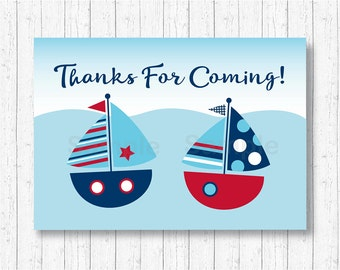 Sailboat Party Favor Tags / Sailboat Thank You Tags / Sailboat Baby Shower / Nautical Baby Shower / Ahoy Baby Shower / INSTANT DOWNLOAD A103