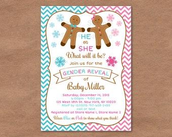 Gingerbread Holiday Gender Reveal Invitation / Gingerbread Gender Reveal Invite / Holiday Gender Reveal / Snowflake / PRINTABLE
