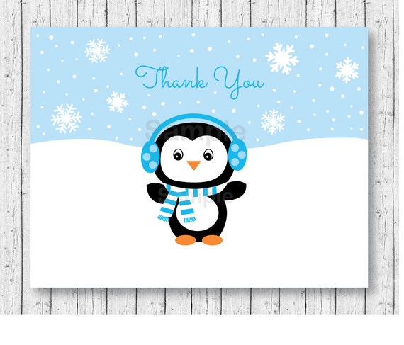 Cute Penguin Thank You Card / Penguin Baby Shower / Winter ...