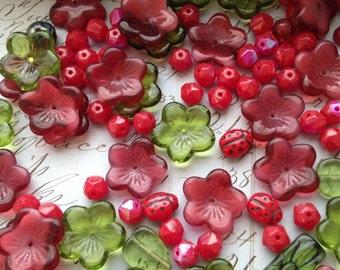 Flora Botanica Bead Mix - Holly Blooms - 2 oz Czech Pressed Glass Mix