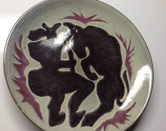 Midcentury Abstract Bullfighter Plate Picasso Style